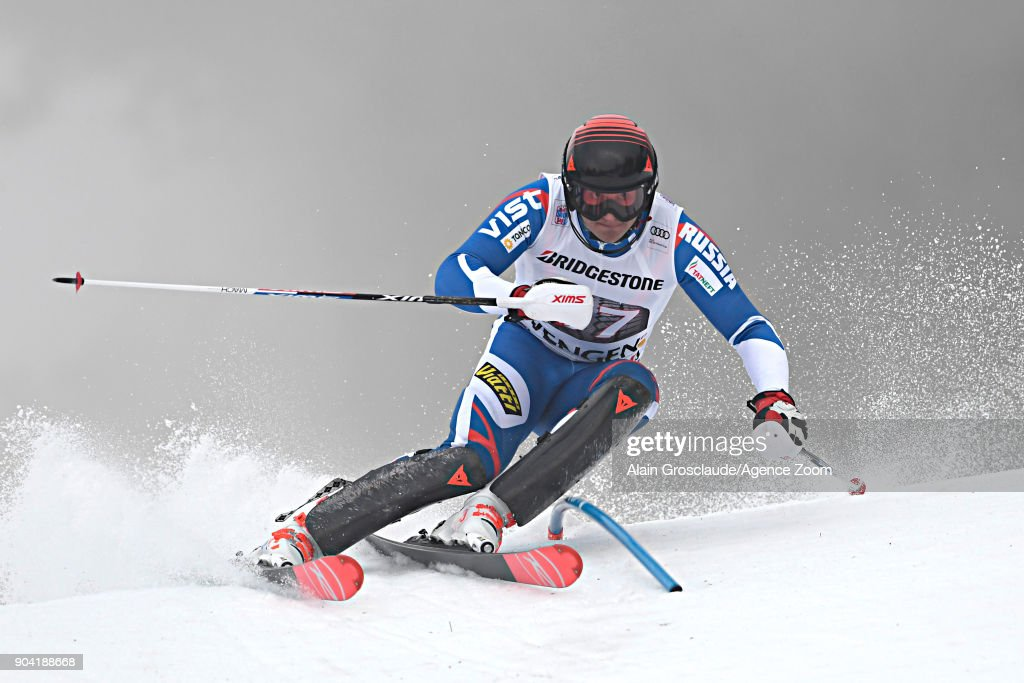Pavel Trikhichev of Russia takes 2nd place during the Audi FIS Alpine Ski World Cup Men's Combined on January 12, 2018 in Wengen, Switzerland.