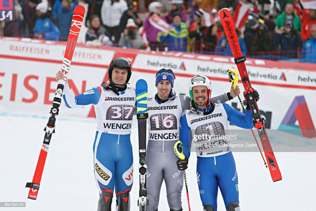 Pavel Trikhichev of Russia takes 2nd place, Victor Muffat-jeandet of France takes 1st place, Peter Fill of Italy takes 1st place during the Audi FIS Alpine Ski World Cup Men's Combined on January 12, 2018 in Wengen, Switzerland.
