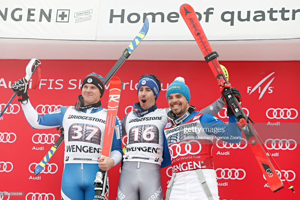 Pavel Trikhichev of Russia takes 2nd place, Victor Muffat-jeandet of France takes 1st place, Peter Fill of Italy takes 3rd place during the Audi FIS Alpine Ski World Cup Men's Combined on January 12, 2018 in Wengen, Switzerland.