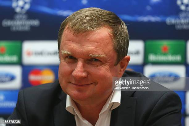 Pavel Vrba, head coach of Viktoria Plzen looks on during a press conference ahead of their Champions League group D match against FC Bayern Muenchen...