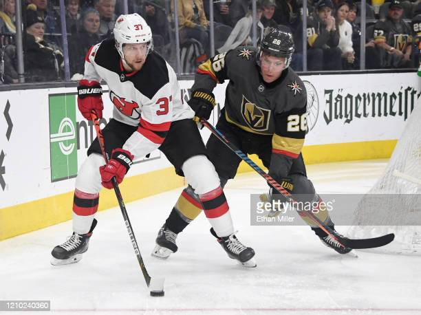 Pavel Zacha of the New Jersey Devils skates with the puck against Paul Stastny of the Vegas Golden Knights in the first period of their game at...