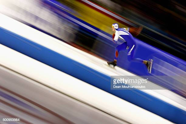 Pavel Kulizhnikov of Russia competes in the Mens 500m race during day 1 of the ISU World Cup Speed Skating held at Thialf Ice Arena on December 11...