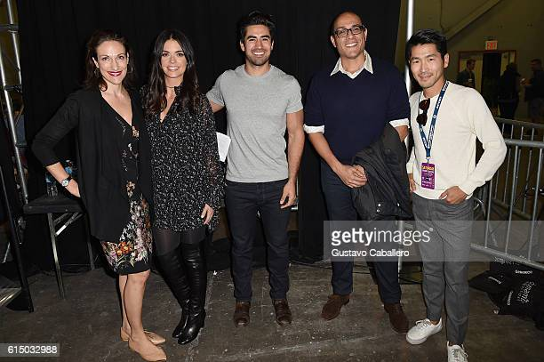 Pavia Rosati Katie Lee Jeremy Jauncey and Bonjwing Lee pose backstage at the Food Network Cooking Channel New York City Wine Food Festival Presented...