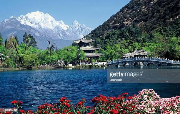 pavilion and snow mountain, lijiang, yunnan, china - shangri la stockfoto's en -beelden
