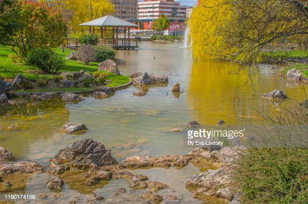 pavilion building in yamaguchi park - pamplona stock pictures, royalty-free photos & images