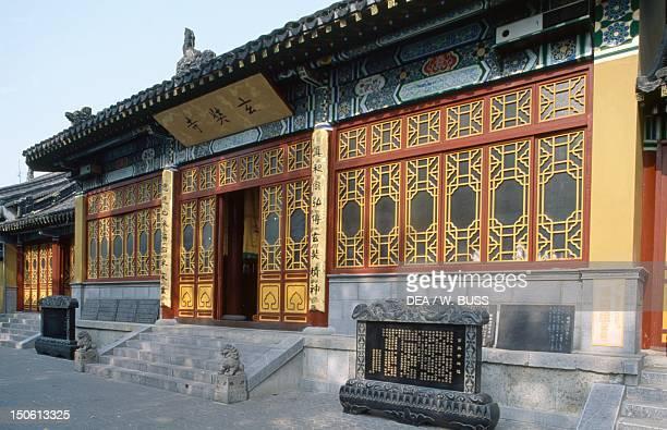 Pavilion entrance of the Buddhist temple on Mount Jiuhua Nanchinoo near Nanjing China