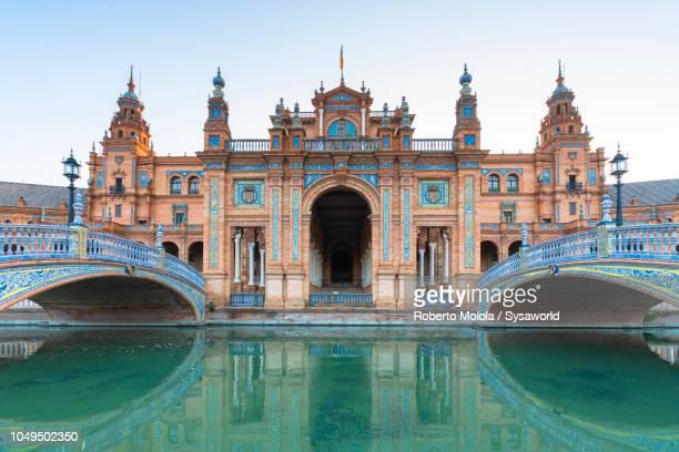 pavilion in mudéjar style and art deco, plaza de espana, seville - portuguese culture stock pictures, royalty-free photos & images