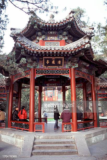 Pavilion near the Long Corridor at the Summer Palace in Beijing China construction of the Summer Palace began in 1750 commissioned by Emperor...