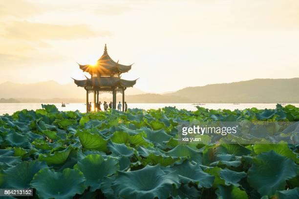Pavilion on West Lake against sunset,Hangzhou,China