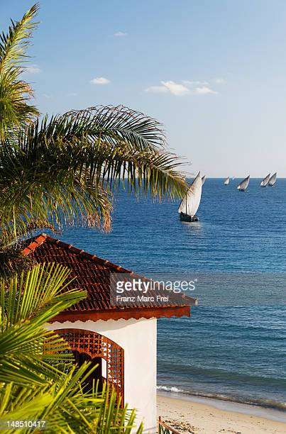 A Pavillion at the beach of Serena Inn hotel in the stonetown of Zanzibar Town.