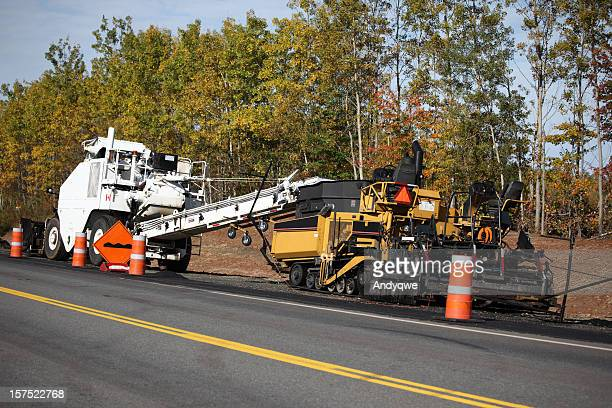 paving equipment - asphalt paving stock photos and pictures
