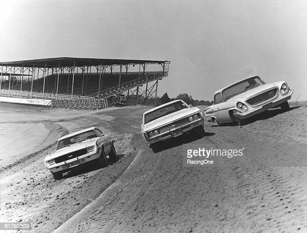 Paving of the turns at Darlington Raceway.