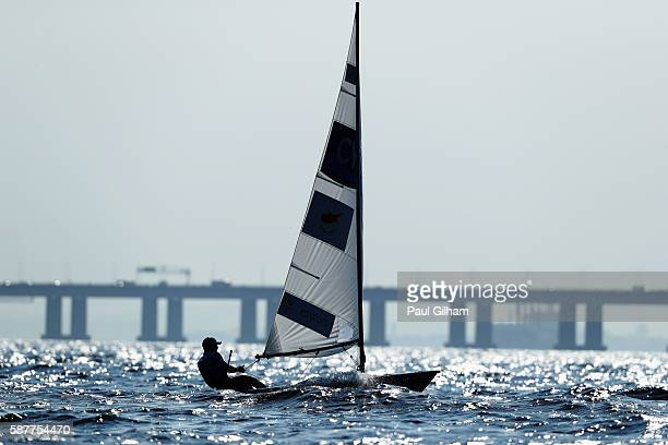Pavlos Kontides of Cyprus competes in the Men's Laser class races on Day 4 of the Rio 2016 Olympic Games at the Marina da Gloria on August 9 2016 in...