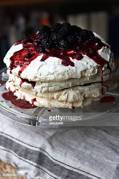 Pavlova cake with berry topping