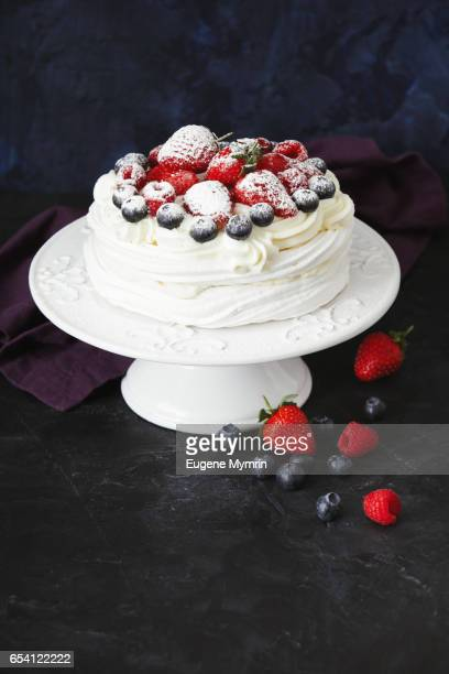 Pavlova dessert with berries