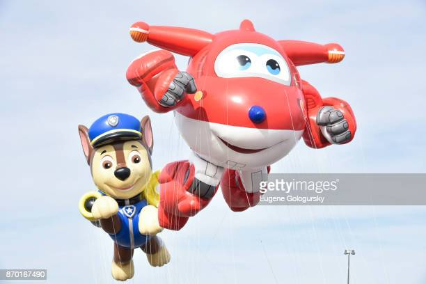 Paw Patrol and Jett from Super Wings debut as giant balloons during Macy's Balloonfest ahead of the 91st Annual Macy's Thanksgiving Day Parade on...