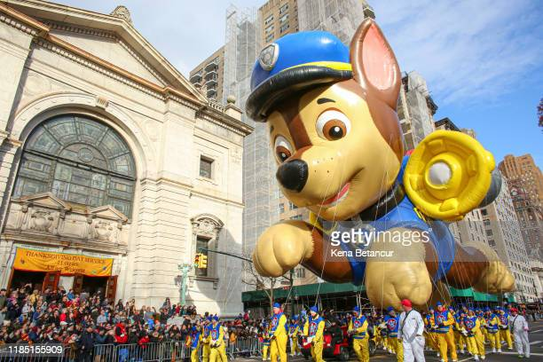 Paw patrol ballon floats during the annual Macy's Thanksgiving parade on November 28 2019 in New York City