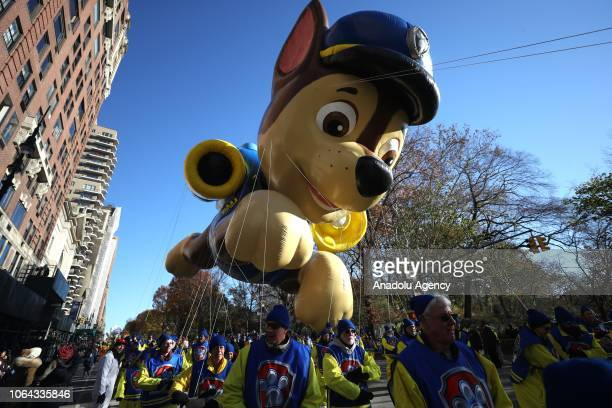 Paw Patrol balloon floats during the Macy's Thanksgiving Day Parade on November 22, 2018 in New York City, United States.