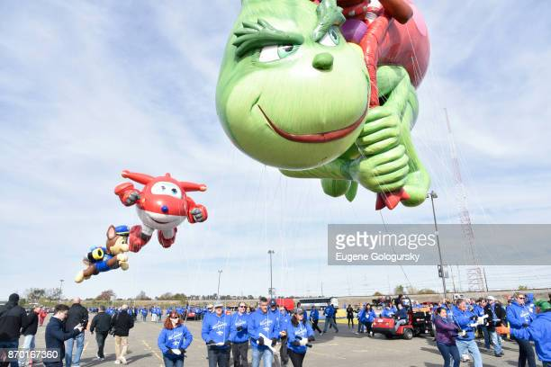 Paw Patrol Jett from Super Wings and Dr Seuss' The Grinch debut as giant balloons during Macy's Balloonfest ahead of the 91st Annual Macy's...