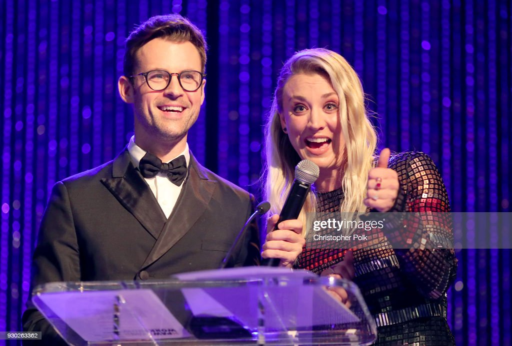 Paw Works Celebrity Ambassador/Board Member Kaley Cuoco and Paw Works Celebrity Ambassador Brad Goreski speak onstage at the James Paw 007 Ties & Tails Gala at the Four Seasons Westlake Village on March 10, 2018 in Westlake Village, California.