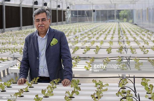Pawan Munjal ViceChairman Managing Director of Hero Motocorp at a green house on the terrace of company's StateOfTheArt manufacturing facility on...
