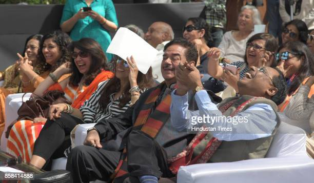 Pawan Verna along with Shatrughn Sinha laughing during the session of the 'Khuswant Singh Literary Festival-2017' on October 6, 2017 in Kasauli,...