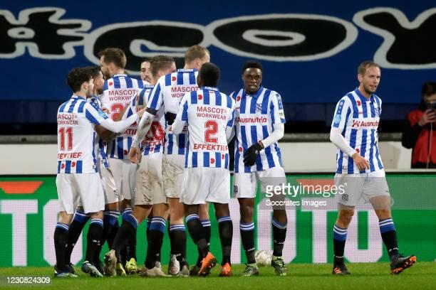 Pawel Bochniewicz of SC Heerenveen celebrates 2-0 with Ibrahim Dresevic of SC Heerenveen, Joey Veerman of SC Heerenveen, Sherel Floranus of SC...