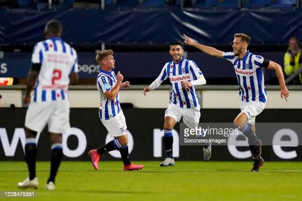 Pawel Bochniewicz of SC Heerenveen celebrates 2-0 with Oliver Batista Meier of SC Heerenveen during the Dutch Eredivisie match between SC Heerenveen...