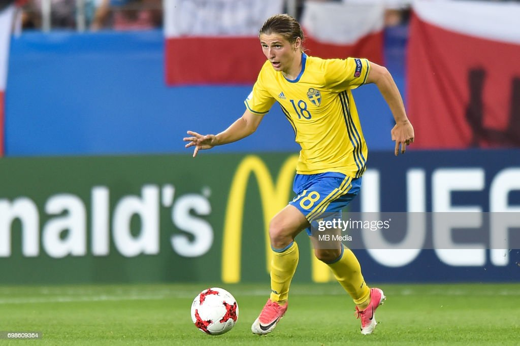 Pawel Cibicki during the UEFA European Under-21 match between Poland and Sweden at Arena Lublin on June 19, 2017 in Lublin, Poland.