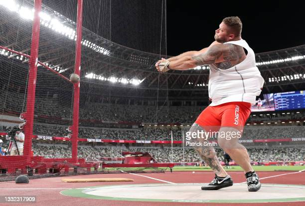 Pawel Fajdek of Team Poland competes in the Men's Hammer Throw Final on day twelve of the Tokyo 2020 Olympic Games at Olympic Stadium on August 04,...