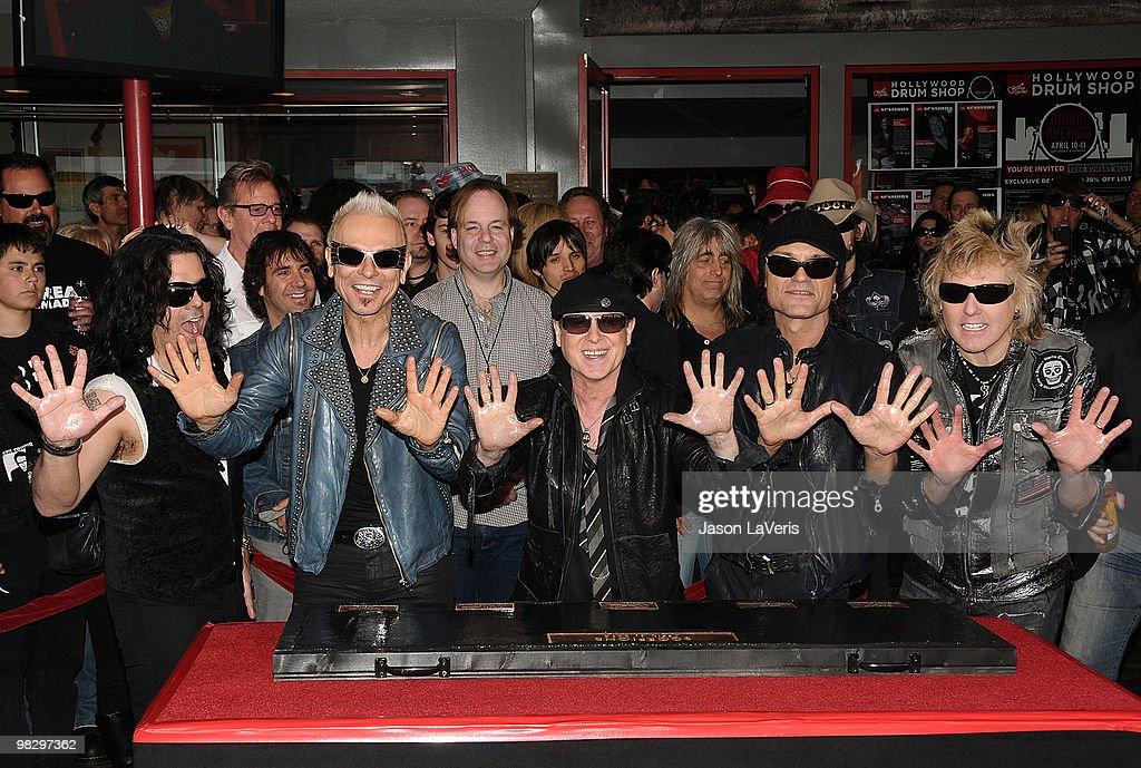 Pawel Maciwoda, Rudolf Schenker, Klaus Meine, Matthias Jabs, James Kottak of The Scorpions are inducted into the Hollywood RockWalk on April 6, 2010 in Hollywood, California.