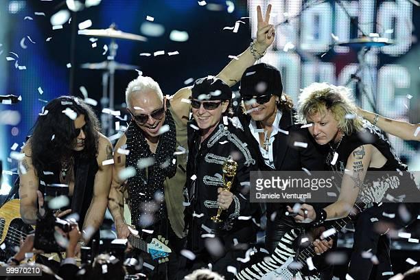 Pawel MaciwodaRudolf Schenker Klaus Meine Matthias Jabs and James Kottak perform on stage during the World Music Awards 2010 at the Sporting Club on...