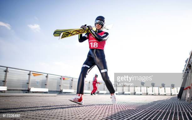 Pawel Slowiok of Poland is seen during the Nordic Combined Individual Gundersen NH/10km official training on February 12 2018 in Pyeongchanggun South...