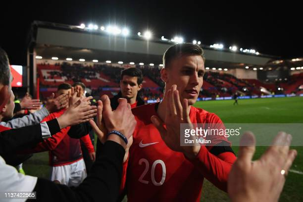 Pawel Stolarski of Poland after the U21 International Friendly match between England and Poland at Ashton Gate on March 21 2019 in Bristol England