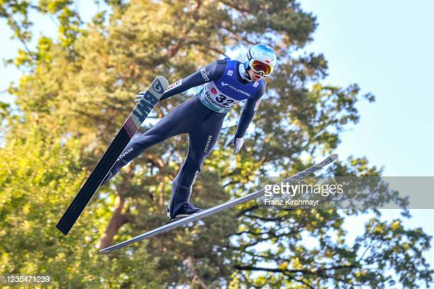 Pawel Wasek of Poland competes during the FIS Grand Prix Skijumping Hinzenbach at on February 6, 2021 in Eferding, Austria.