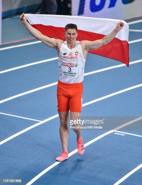 Pawel Wiesiolek of Poland poses for the pictures after the 1000m during the second session on Day 3 of European Athletics Indoor Championships at...