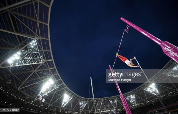 Pawel Wojciechowski of Poland competes in the Men's Pole Vault final during day five of the 16th IAAF World Athletics Championships London 2017 at...