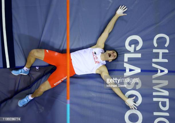 Pawel Wojciechowski of Poland reacts during the Mens Pole Vault Final during the 2019 European Athletics Indoor Championships - Day Two at the...