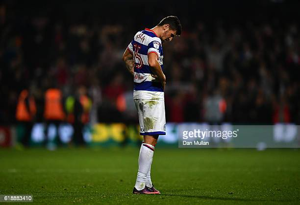 Pawel Wszolek of Queens Park Rangers stands dejected following the final whistle during the Sky Bet Championship match between Queens Park Rangers...