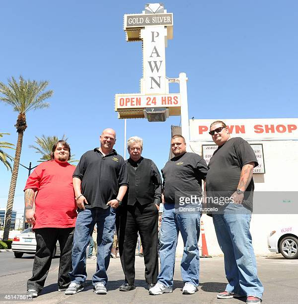 Pawn Stars Austin Chumlee Russell, Rick Harrison, Richard Harrison and Corey Harrison pose for photos with Ax Men Gabe Rygaard at Gold and Silver...
