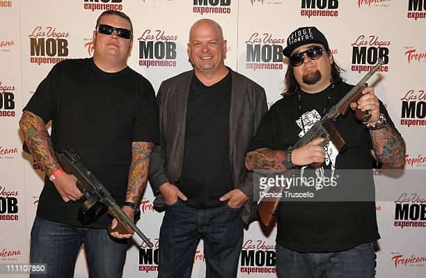 Pawn Stars cast Corey Harrison Rick Harrison and Austin Chumlee Russell arrive at Las Vegas Mob Experience at The Tropicana on March 29 2011 in Las...