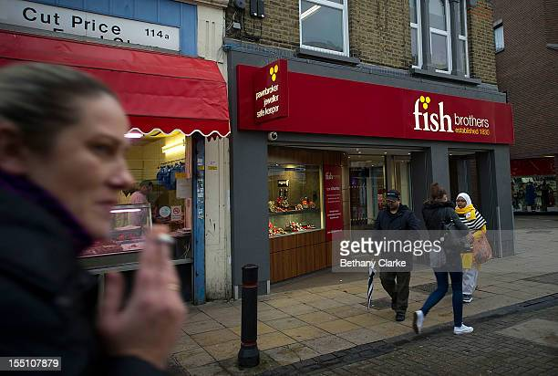 Pawnbrokers in Walthamstow high street on on November 1 2012 in London England The recession has changed the face of the UK's high streets which have...