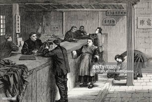 A pawnbroker's shop at Shanghai China illustration from the magazine The Illustrated London News volume LXII April 5 1873