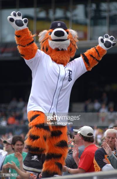 Paws the Detroit Tigers mascot during the game between the Minnesota Twins and the Detroit Tigers at Comerica Park in Detroit Michigan on April 30...