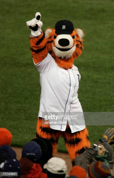 Paws, the mascot of the Detroit Tigers fires up the crowd against the St. Louis Cardinals during Game Two of 2006 World Series October 22, 2006 at...