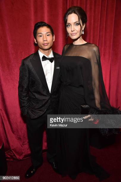 Pax JoliePitt and Angelina Jolie attend the Netflix Golden Globes after party at Waldorf Astoria Beverly Hills on January 7 2018 in Beverly Hills...