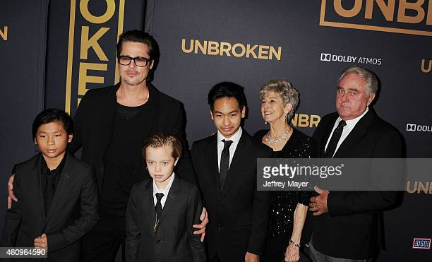 Pax Thien JoliePitt actor Brad Pitt Shiloh Nouvel JoliePitt Maddox JoliePitt Jane Pitt and William Pitt attend the 'Unbroken' Los Angeles premiere...