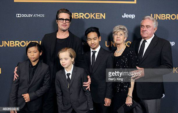 Pax Thien JoliePitt Shiloh Nouve JoliePitt actor Brad Pitt Maddox Jolie Pitt Jane Pitt and William Pitt attend the premiere of 'Unbroken' at TCL...