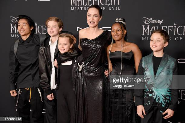 Pax Thien Jolie-Pitt, Shiloh Nouvel Jolie-Pitt, Vivienne Marcheline Jolie-Pitt, Angelina Jolie, Zahara Marley Jolie-Pitt, and Knox Leon Jolie-Pitt...
