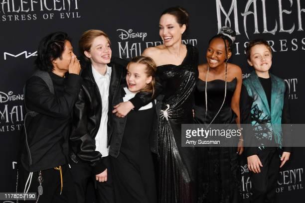 Pax Thien Jolie-Pitt, Shiloh Nouvel Jolie-Pitt, Vivienne Marcheline Jolie-Pitt, Angelina Jolie, Zahara Marley Jolie-Pitt, and Knox Léon Jolie-Pitt...